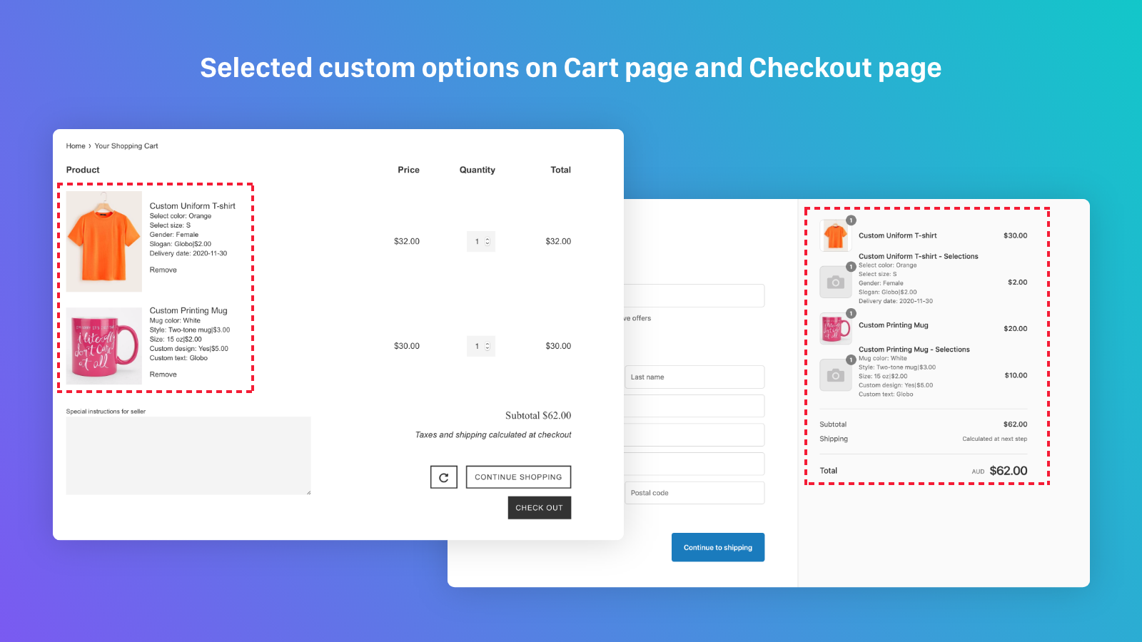Product options on cart page & checkout