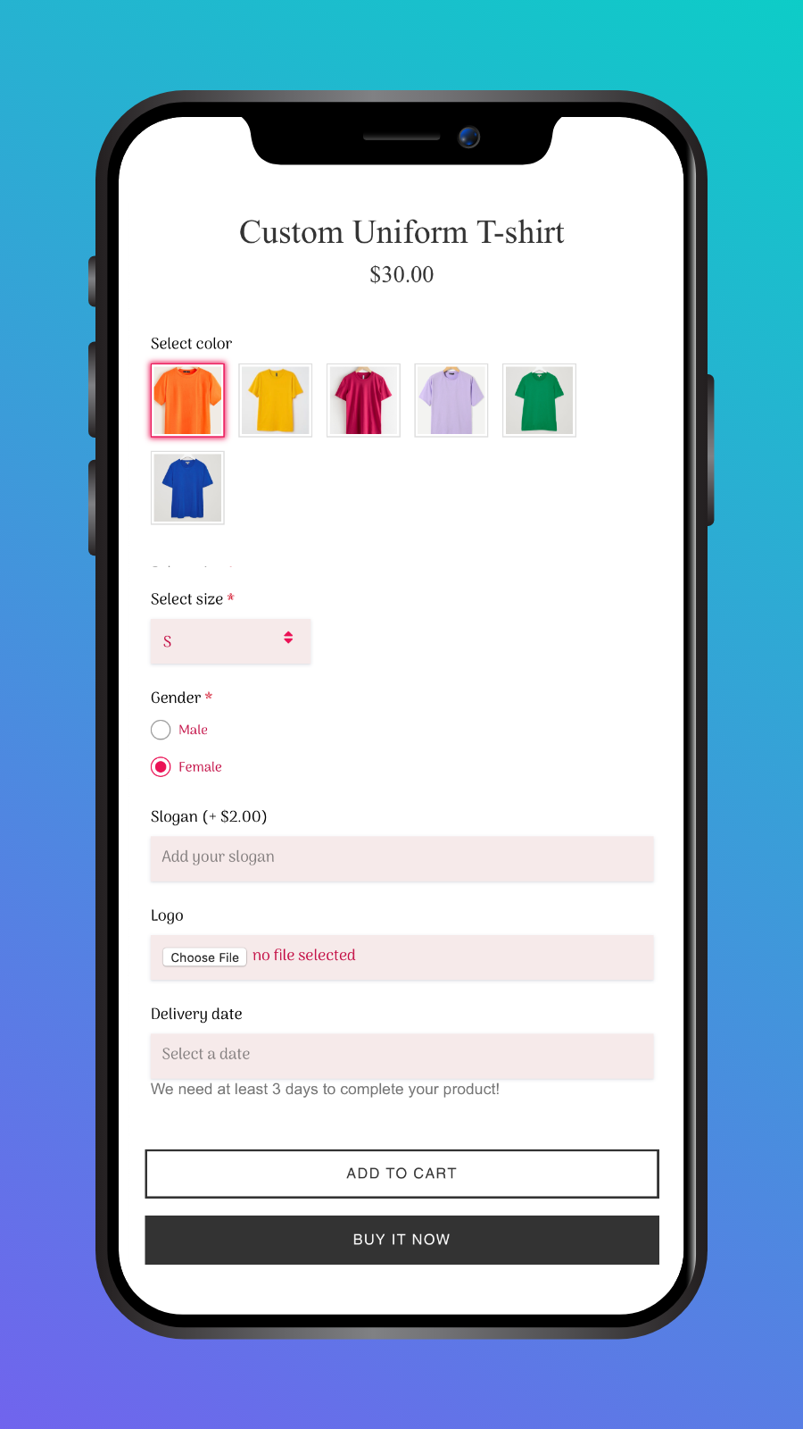 Product options in mobile
