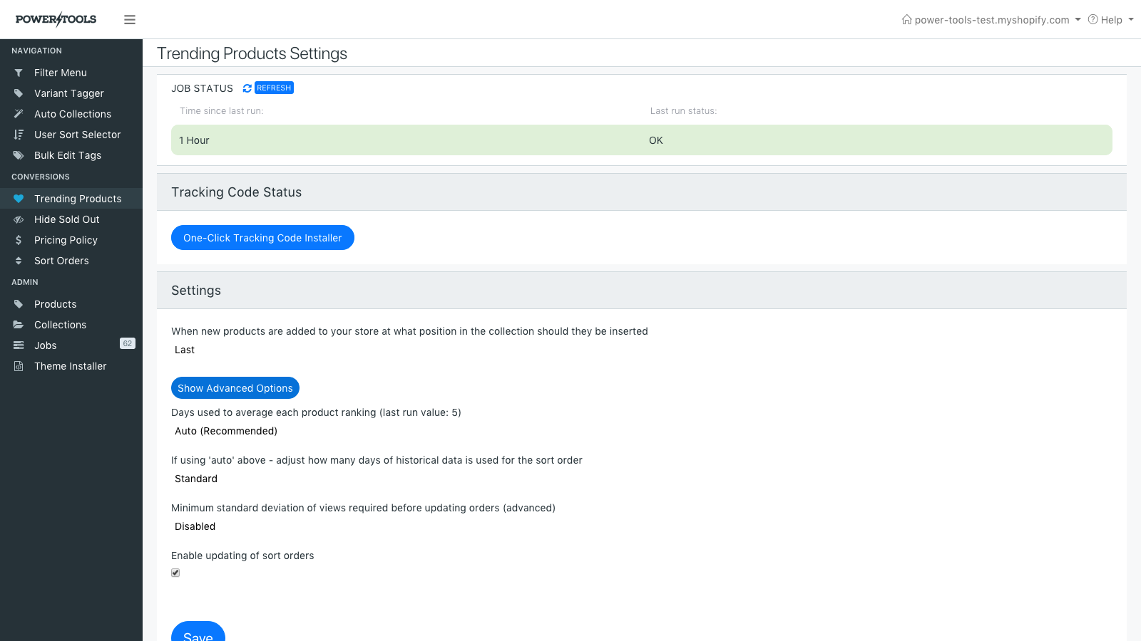 Customize settings, such as how frequently the order changes.