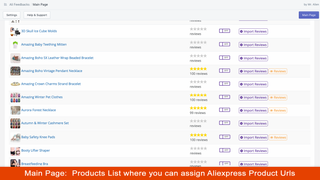 Main Page: Products List Where you can Assign Aliexpress URLs