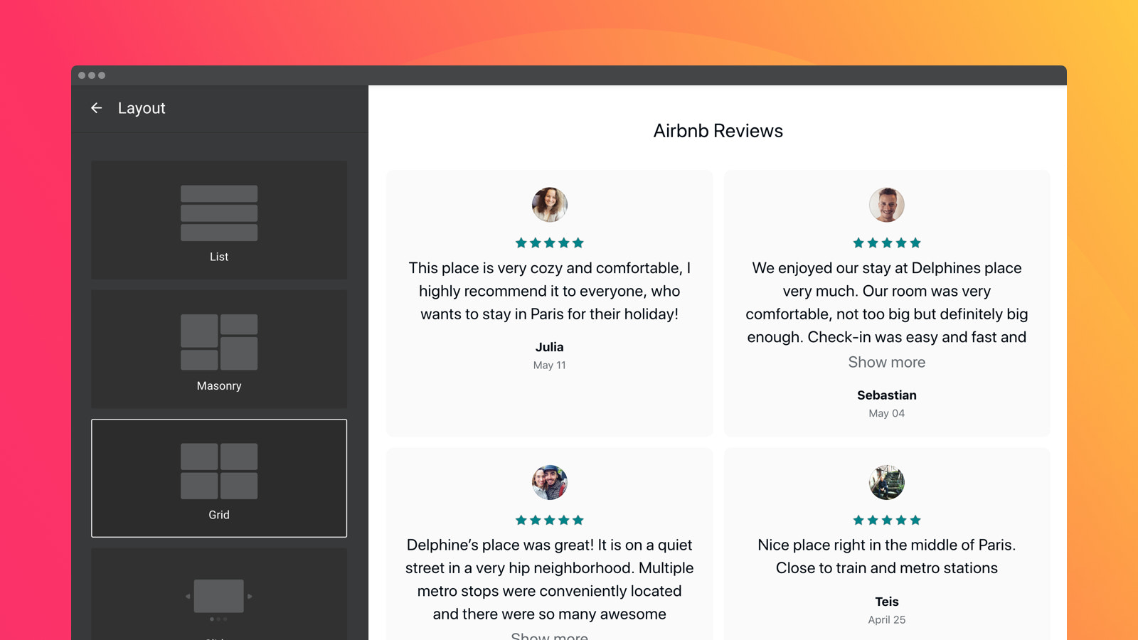 Four ready layouts help position the widget on page