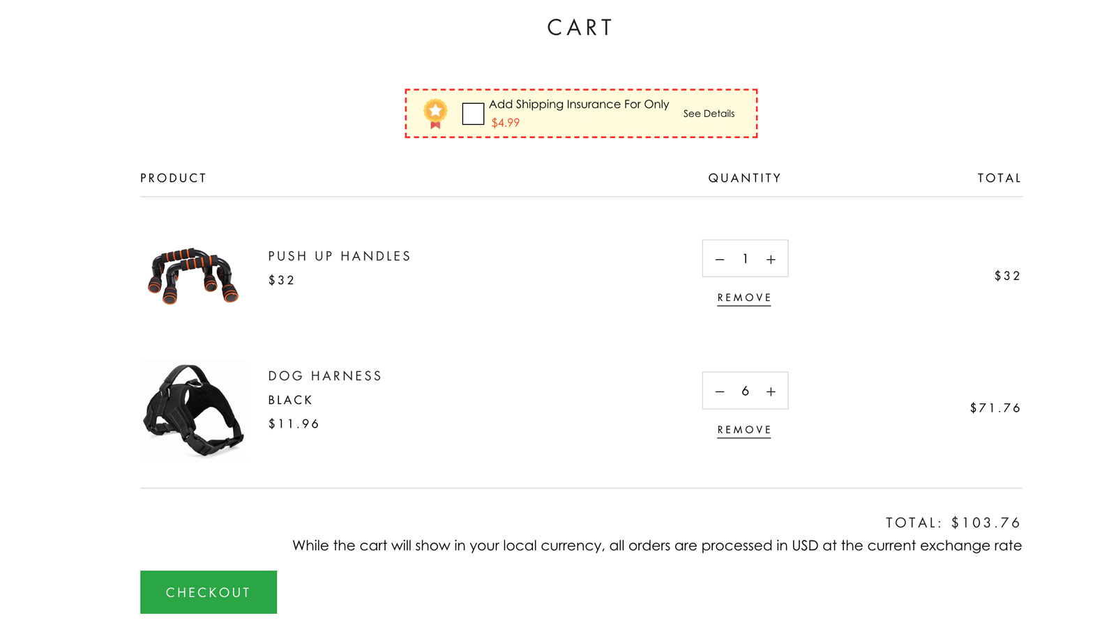 cart page upsell