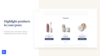 Products in blog posts
