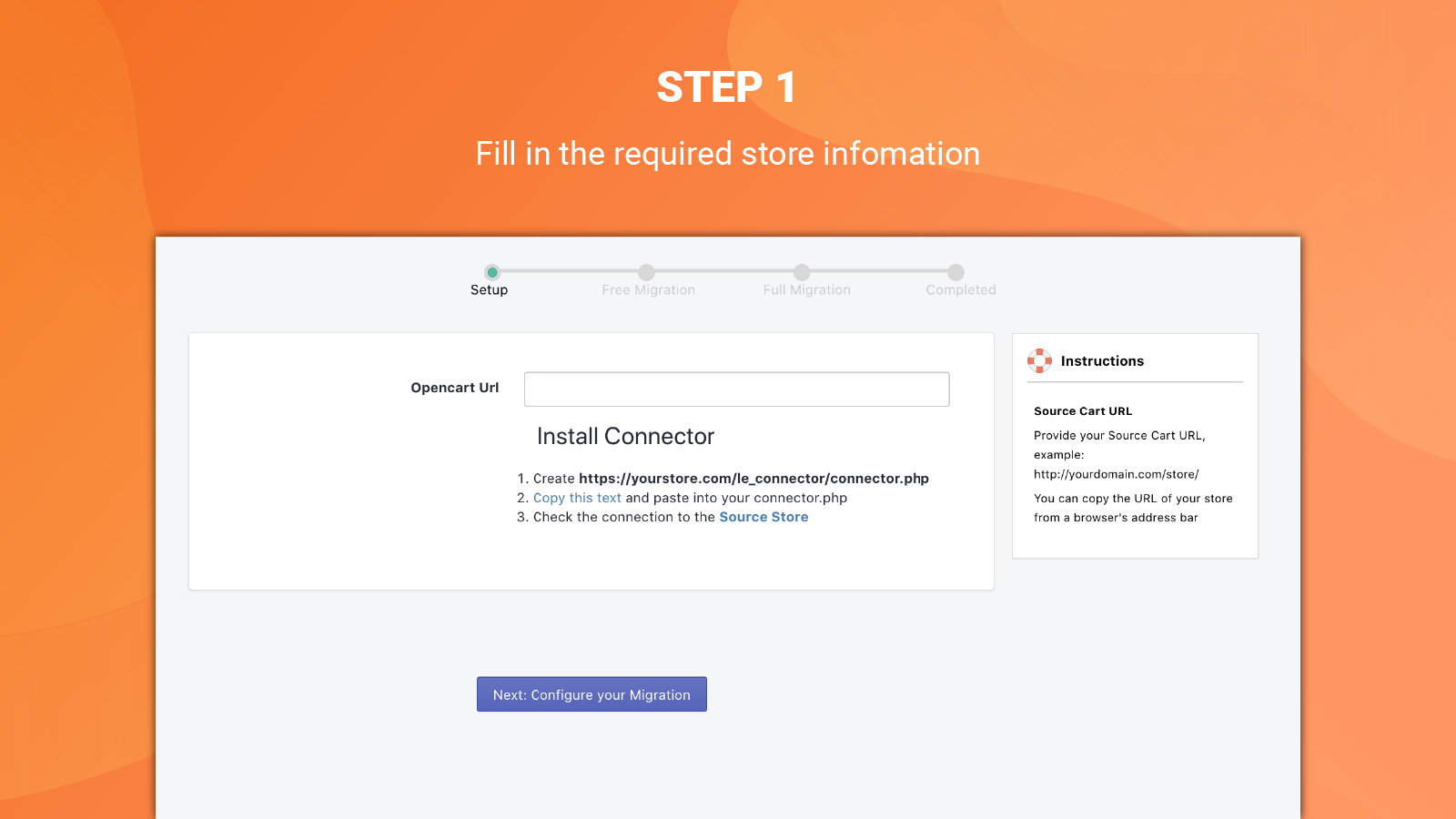 litextension opencart import to shopify setup url
