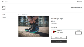 Upsell on the product page with addons