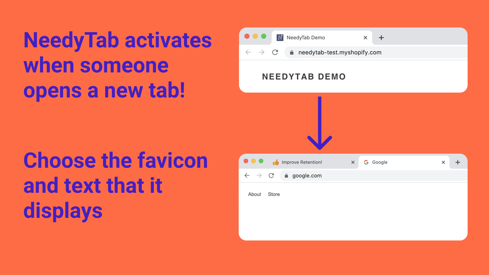 Before and after a new tab is opened