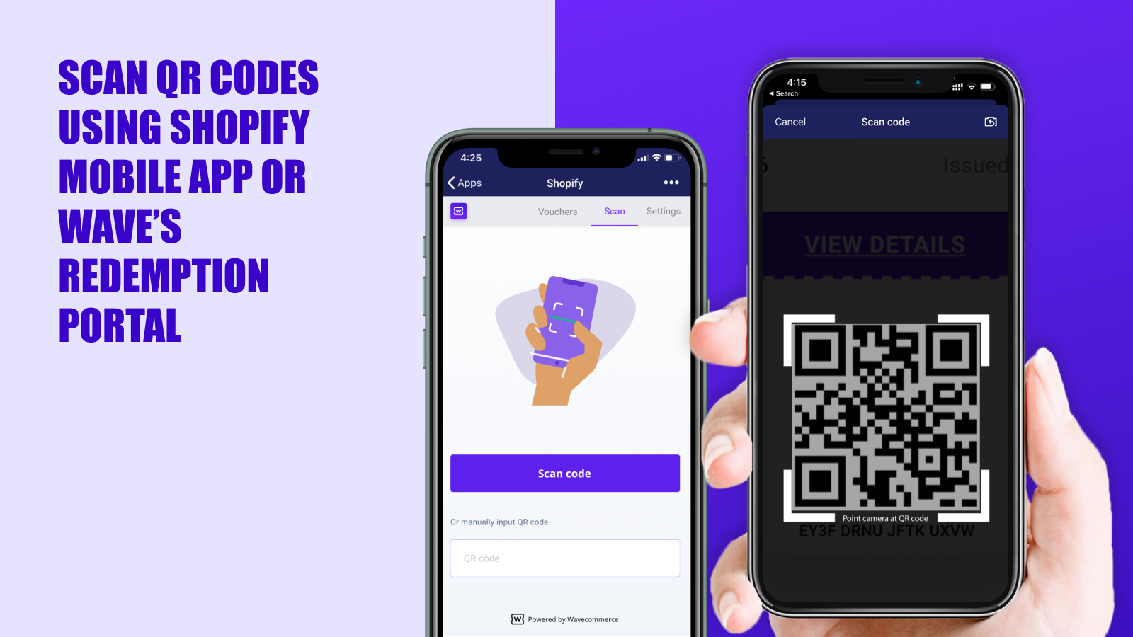 Scan using Shopify mobile app to redeem QR codes