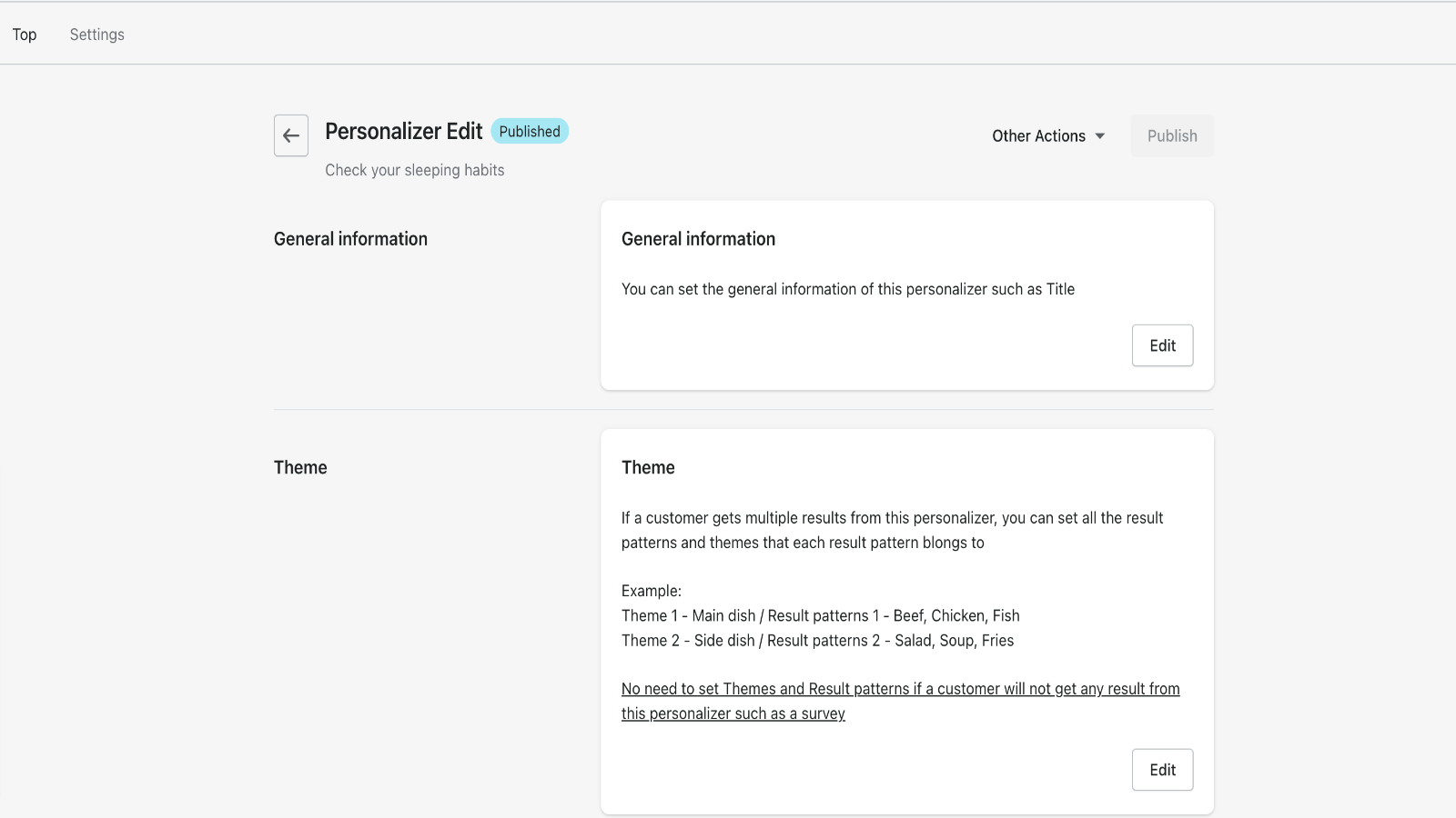 Edit the personalizer you created