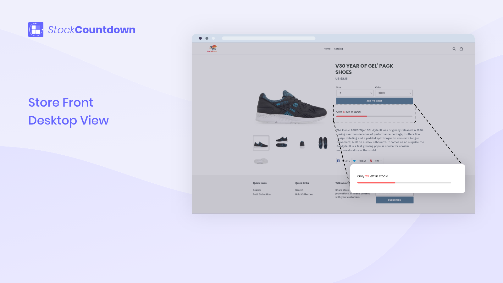 Show stock countdown on store front