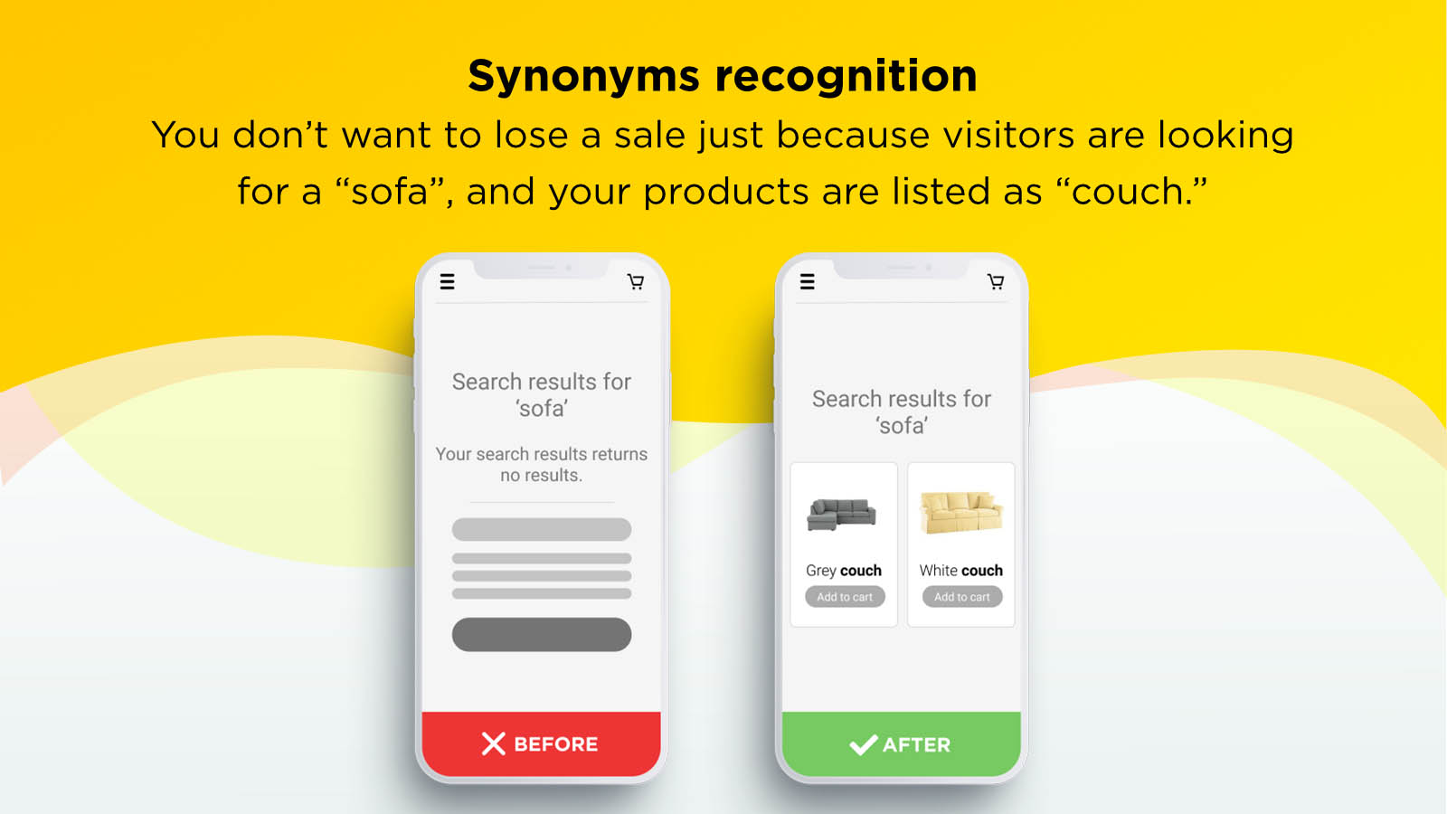 ecommerce product search bar synonyms recognition