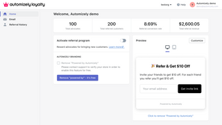 Automizely Loyalty admin page - referral program