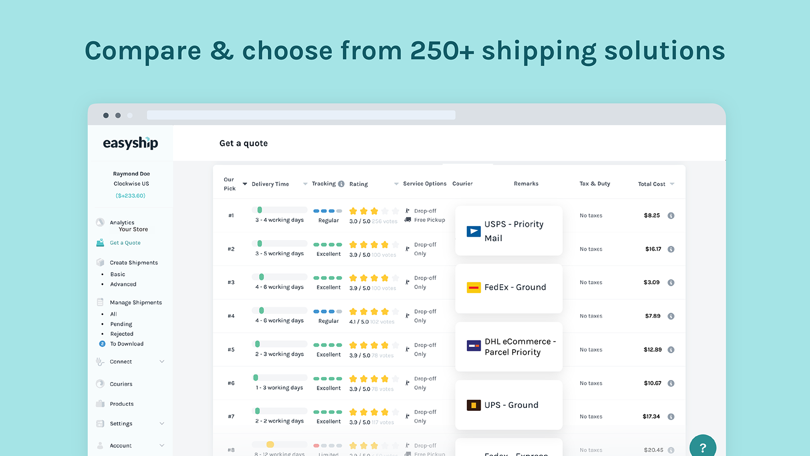 Easyship compares and offers over 250 shipping solutions.