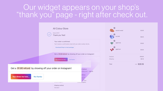 """Our widget appears on your store """"thank you"""" page after checkout"""