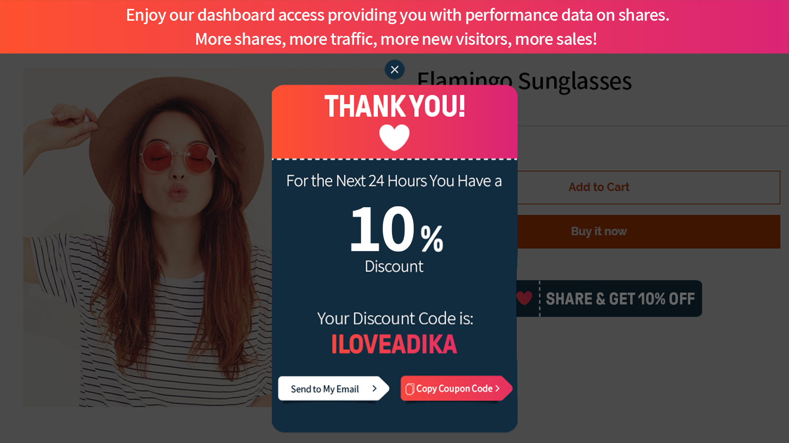 Thank you screen with coupon code