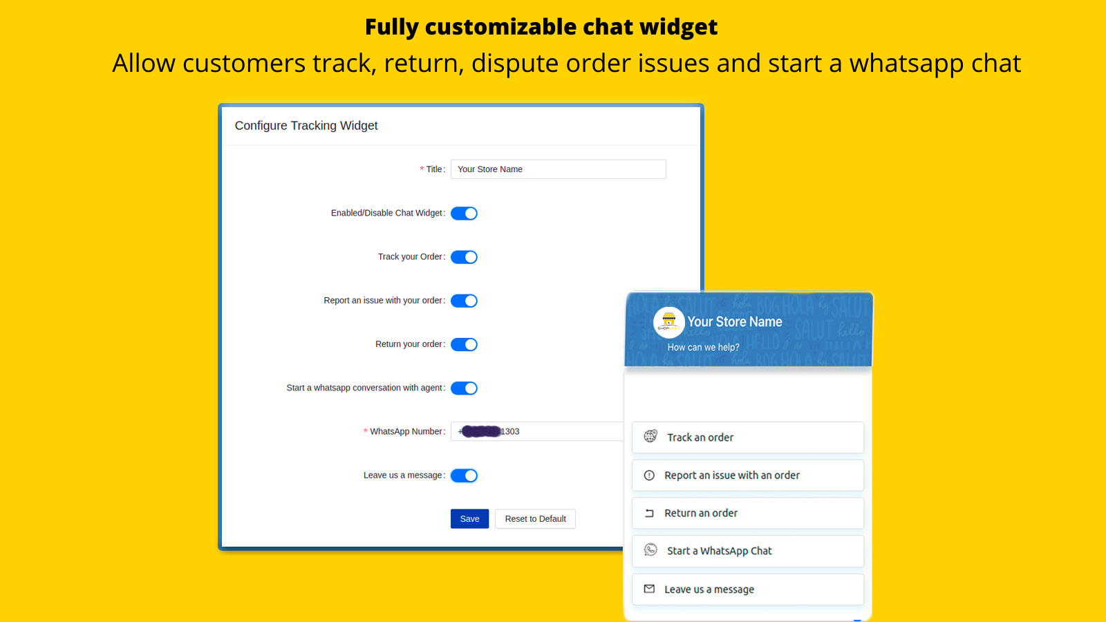 Fully customizable chatbot including whatsapp chat