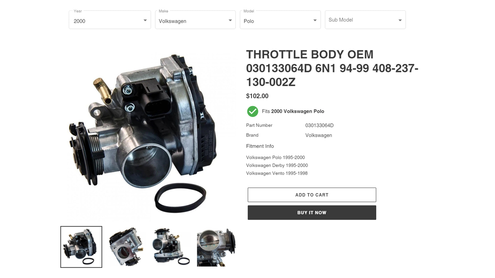 Vehicle Compatibility on product page