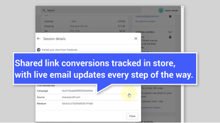 Shared link conversions tracked in store, with live email update