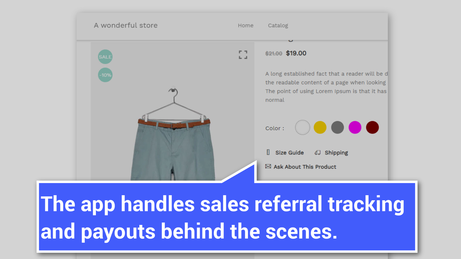 The app handles sales referral tracking and payouts ...