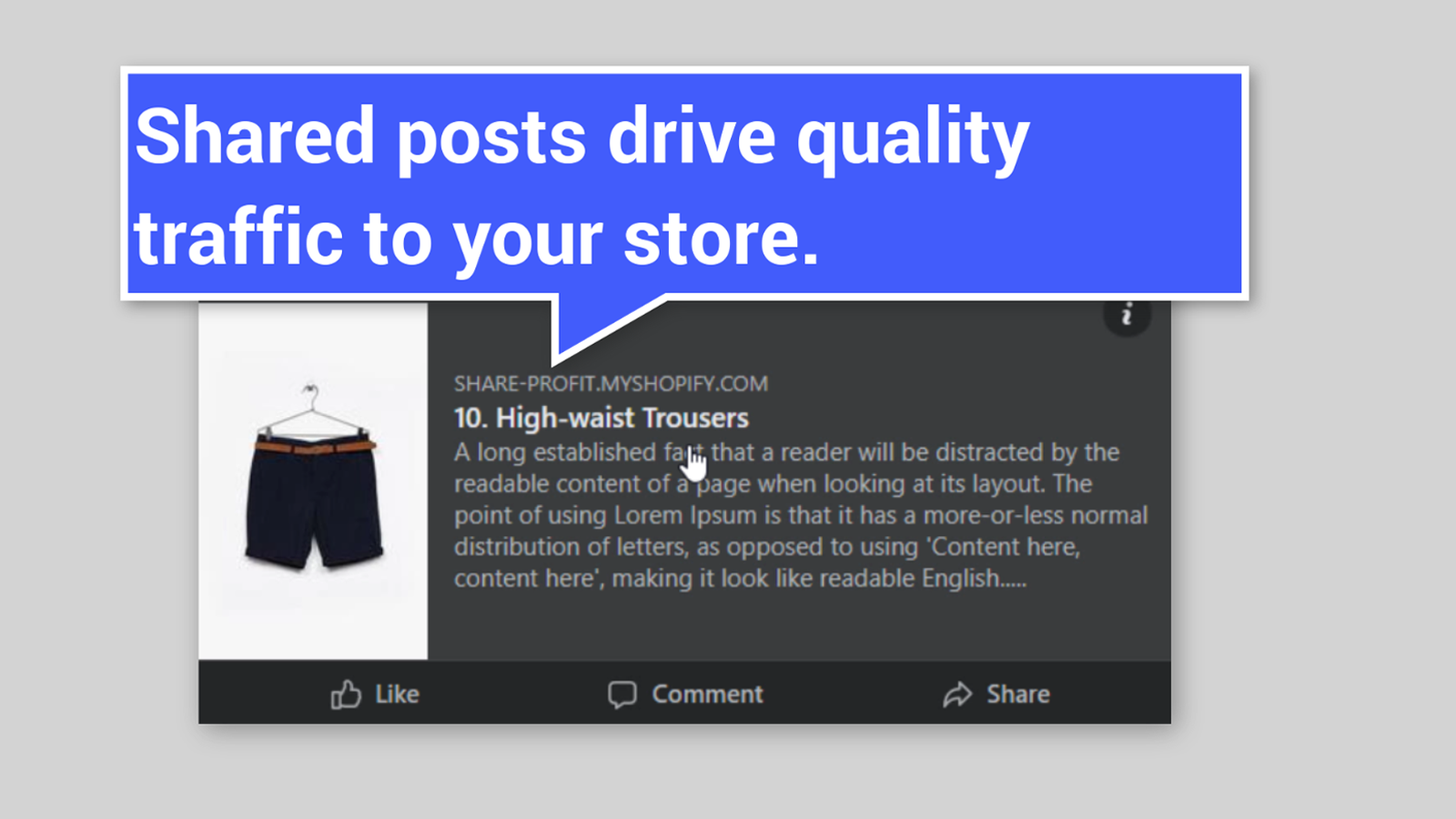 Shared posts drive quality traffic to your store.
