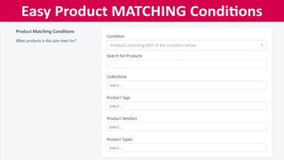 Unlimited size chart matching conditions
