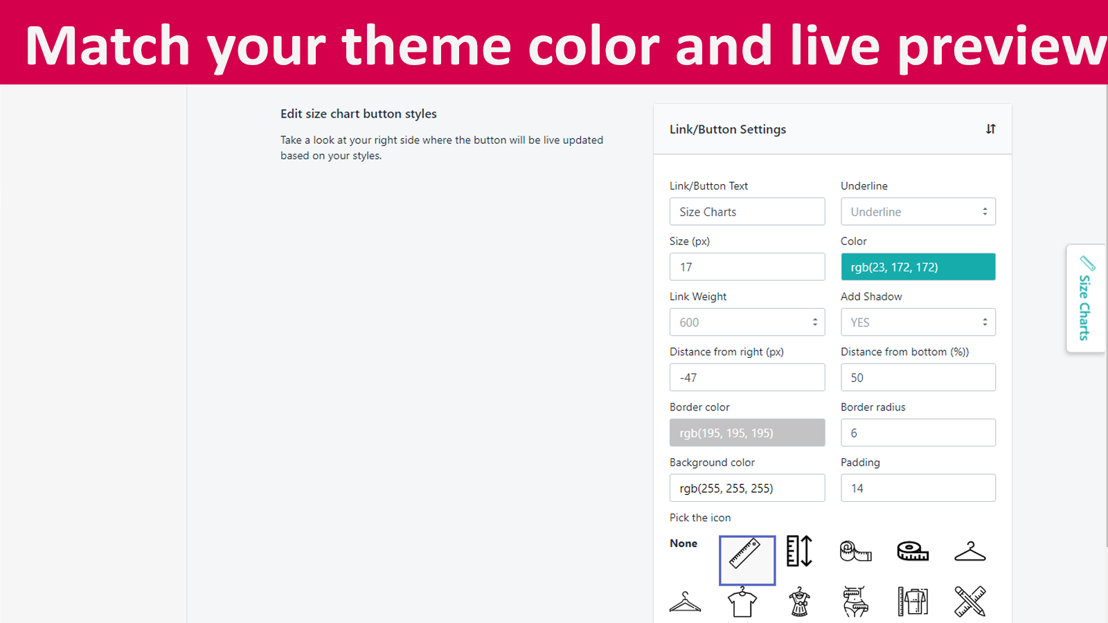 Match your theme styles with link/button full customization