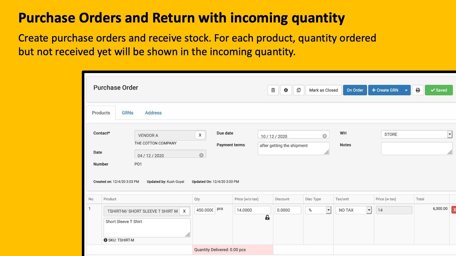 Purchase Orders with incoming quantity