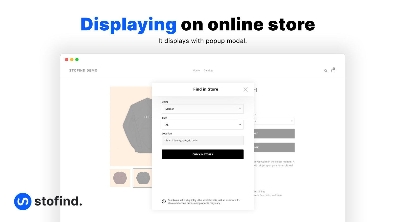 Stofind with modal popup
