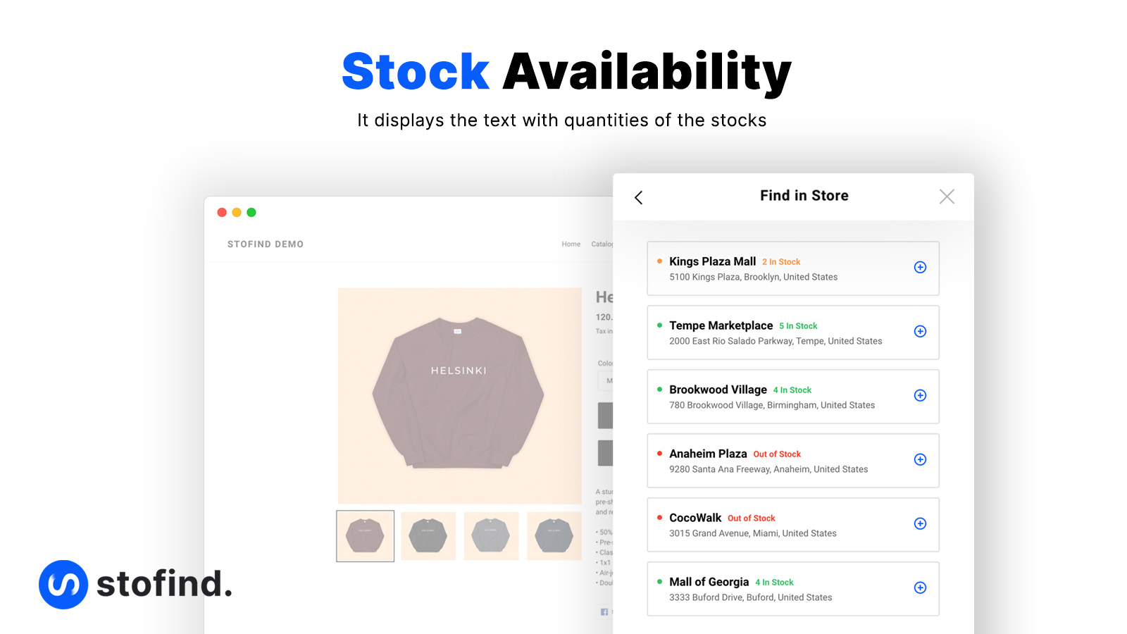 Stock availability with the quantity of the stock