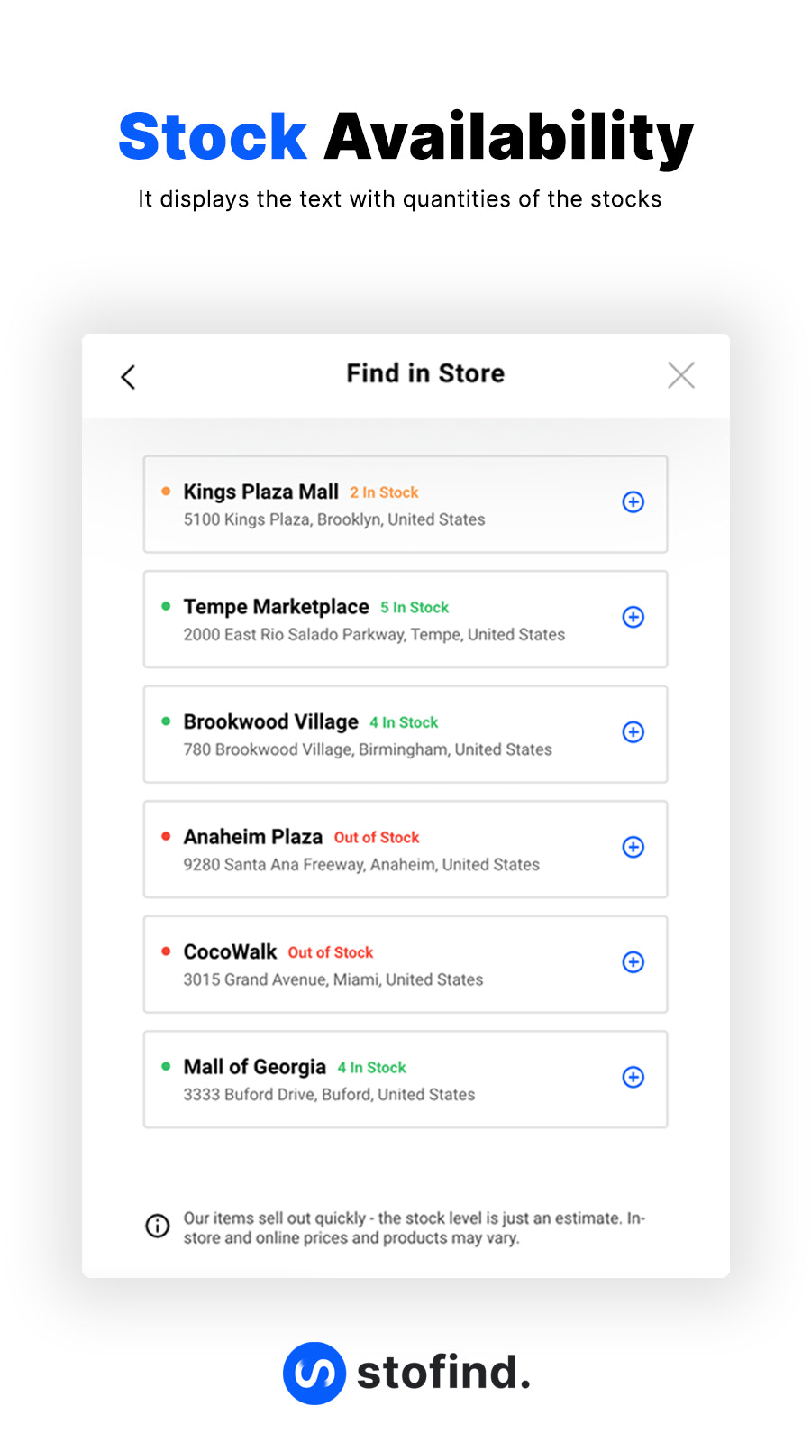 Stock availability with the quantity of the stock on mobile