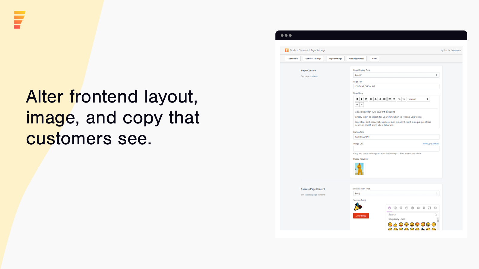 Alter frontend layout, image, and copy that customers see