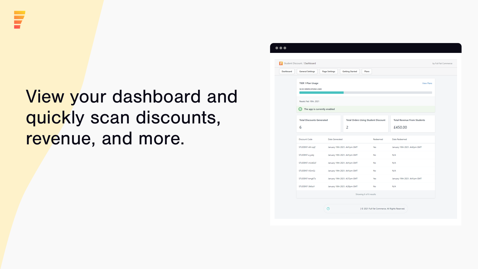 View your dashboard and quickly see discounts, revenue, and more
