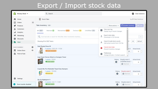 Import / export menu, stock value