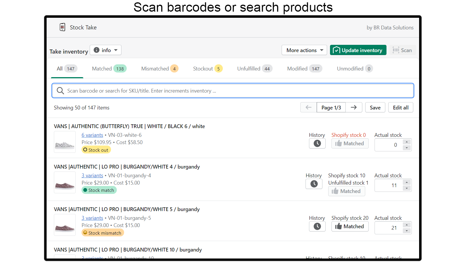 Scan barcodes or edit product / variant counts