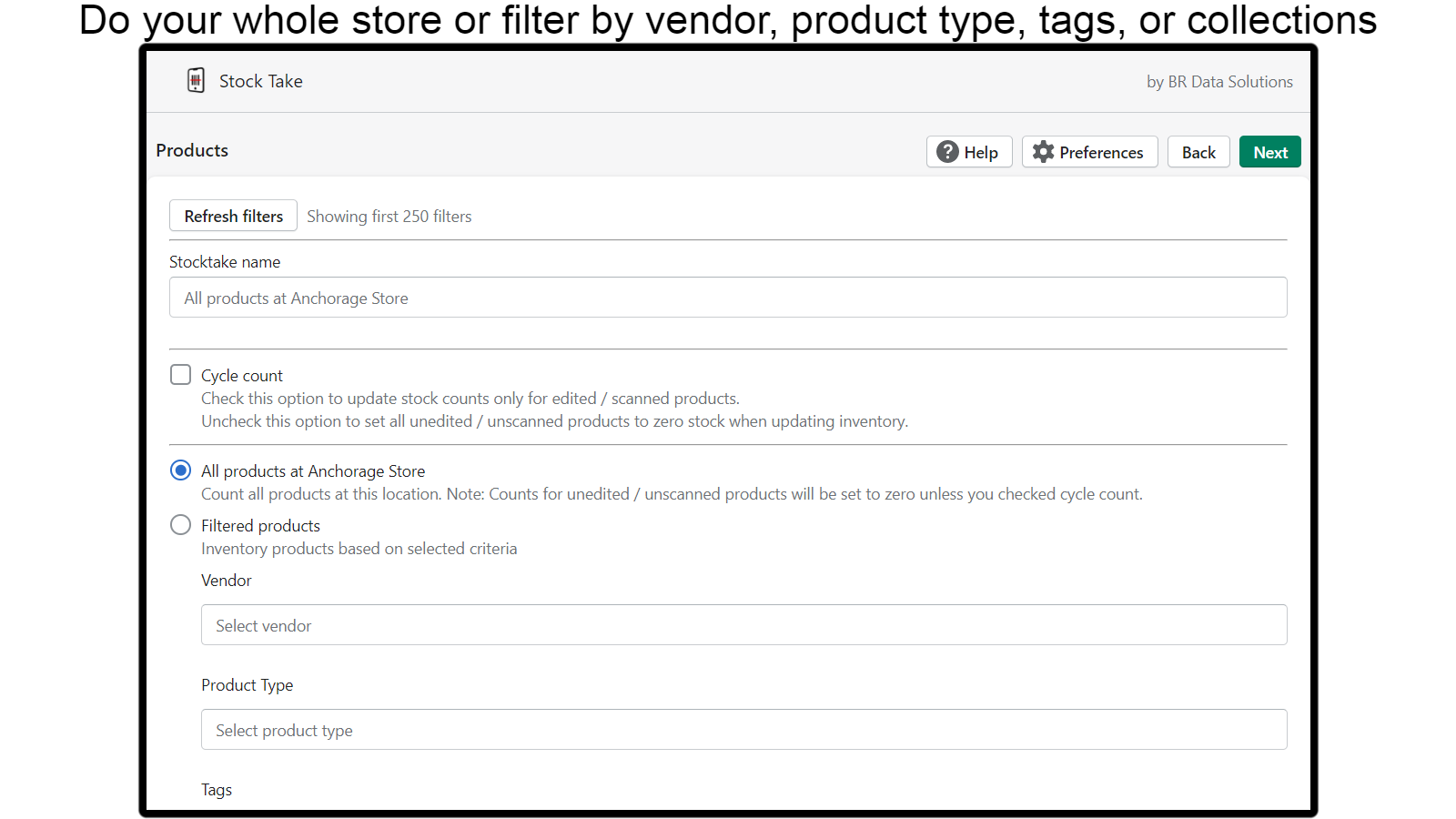 Filter product variants