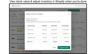 View stock value & update inventory count