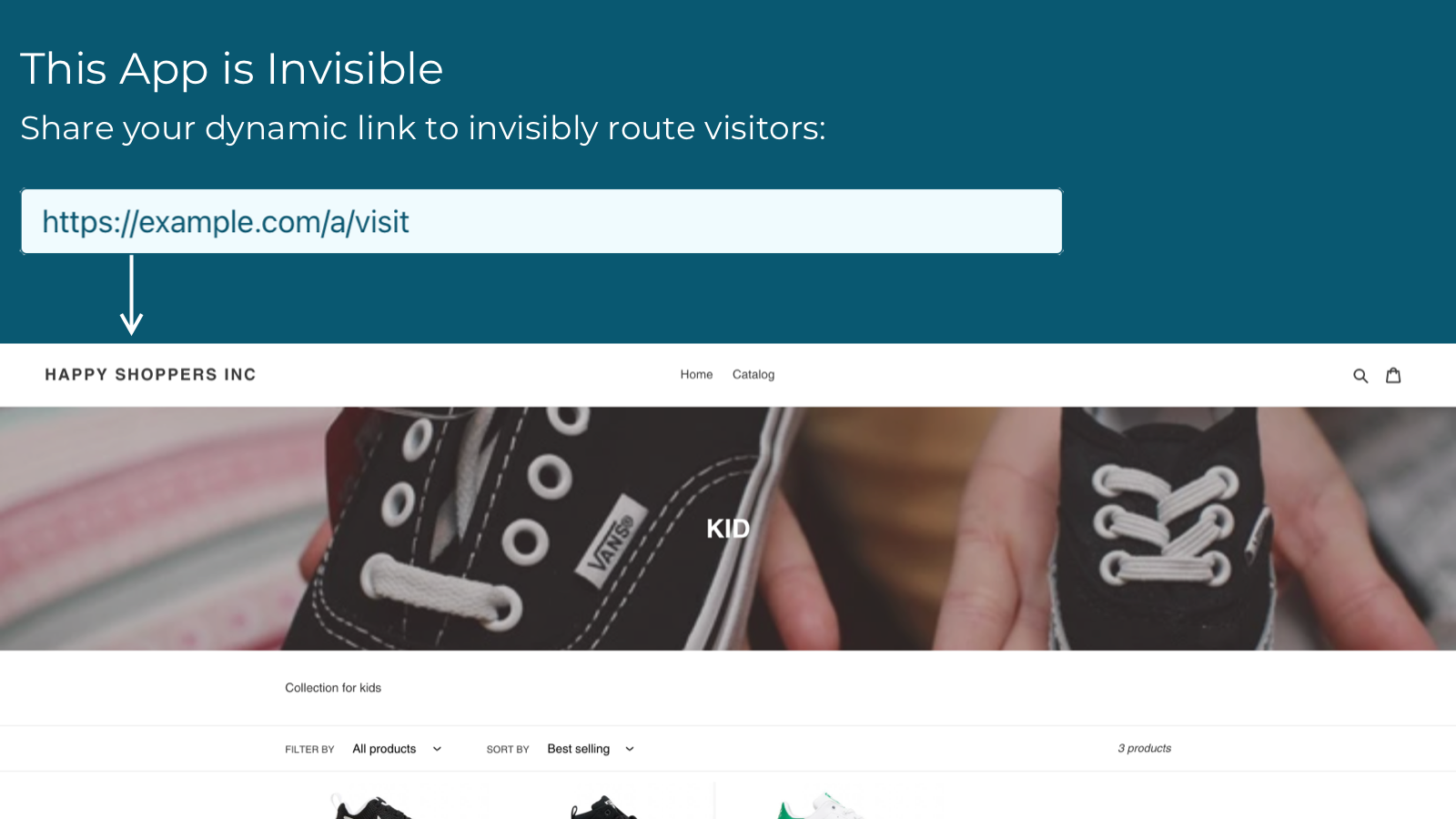The link invisibly routes visitors to a recommended collection