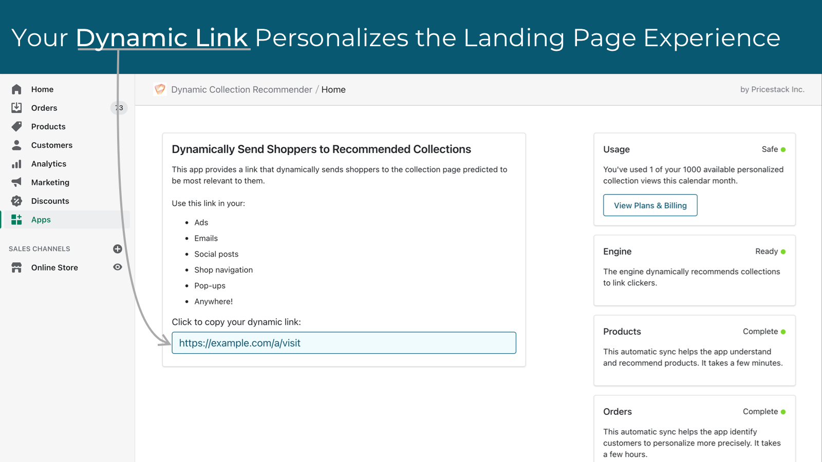 Copy your dynamic link from this app's user interface