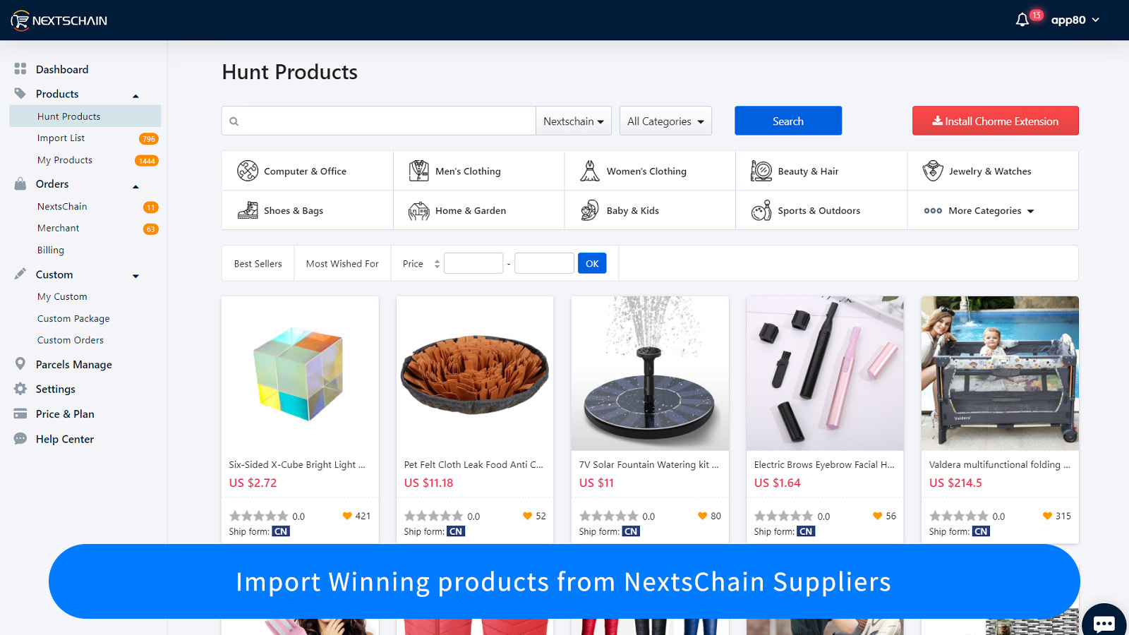Import Winning products from NextsChain Suppliers