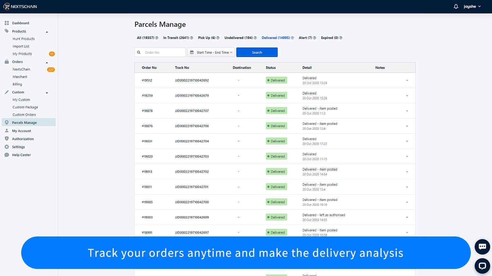 Track your orders anytime and make the delivery analysis