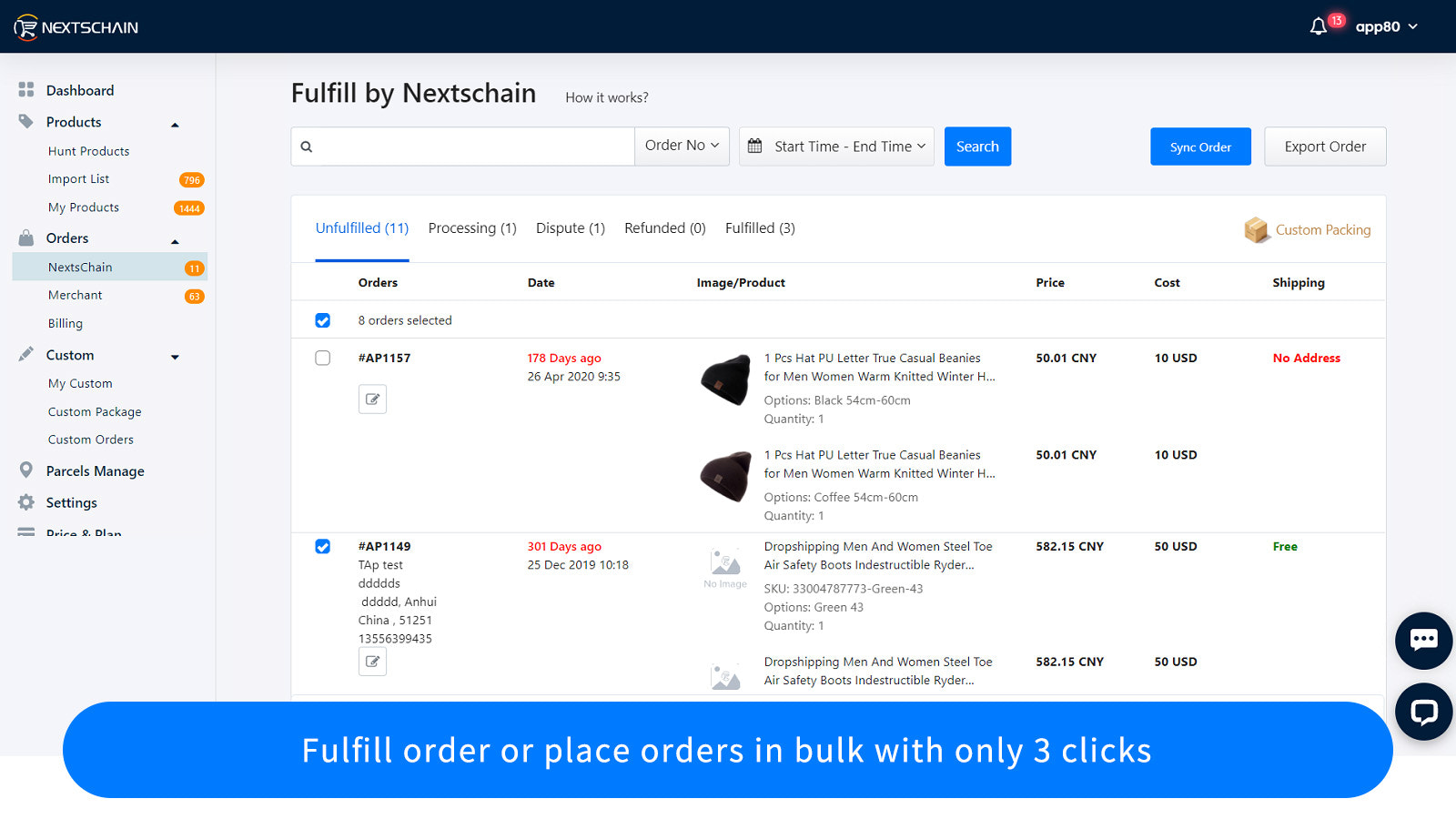 Fulfill order or place orders in bulk with only 3 clicks