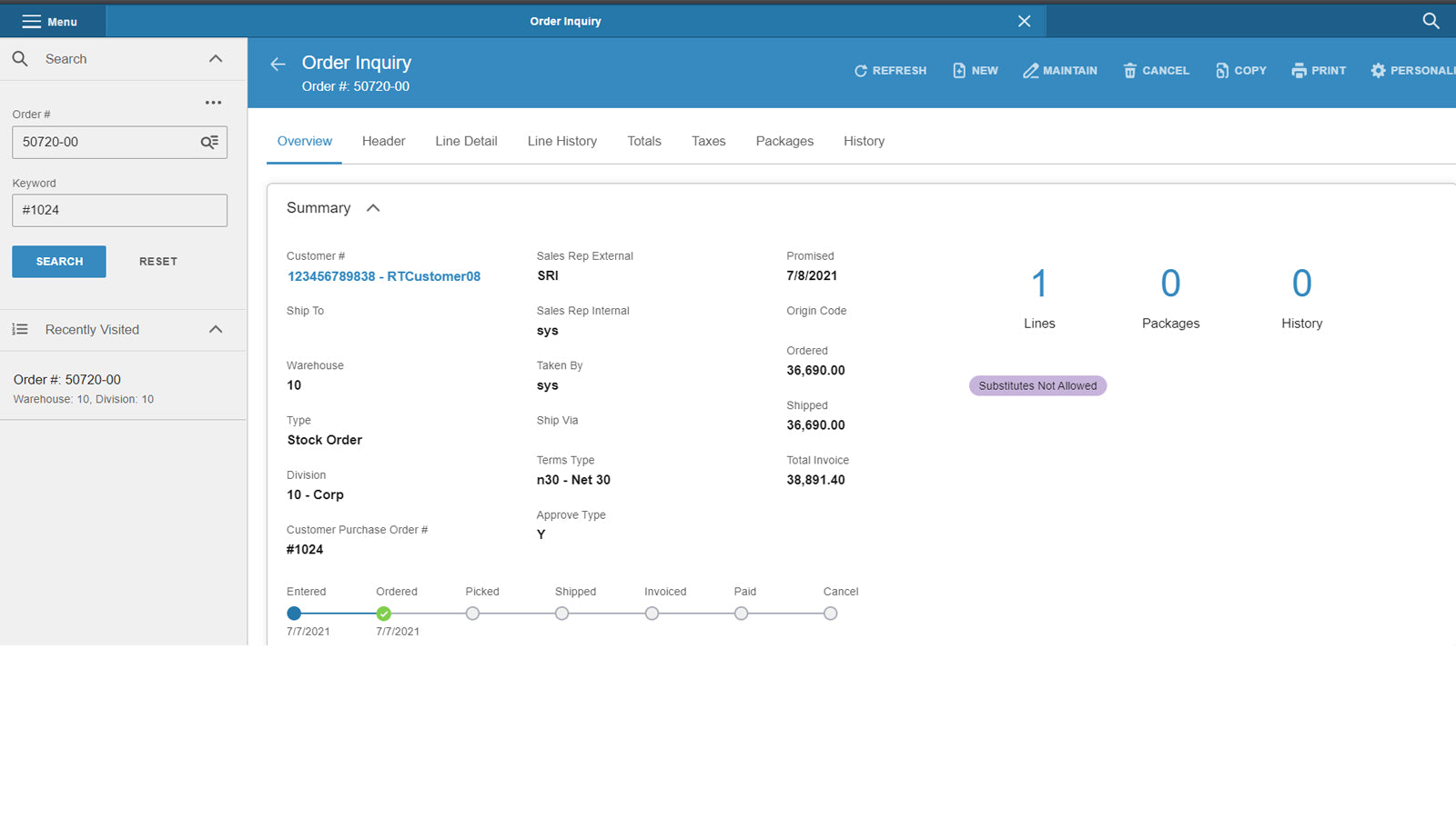 Order creation in CloudSuite Distribution