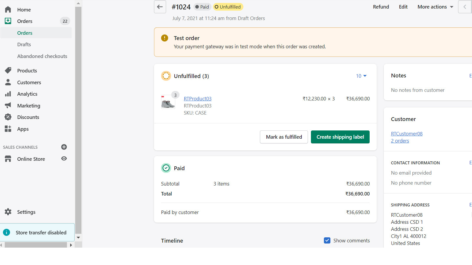 Order creation in Shopify with unfulfilled status
