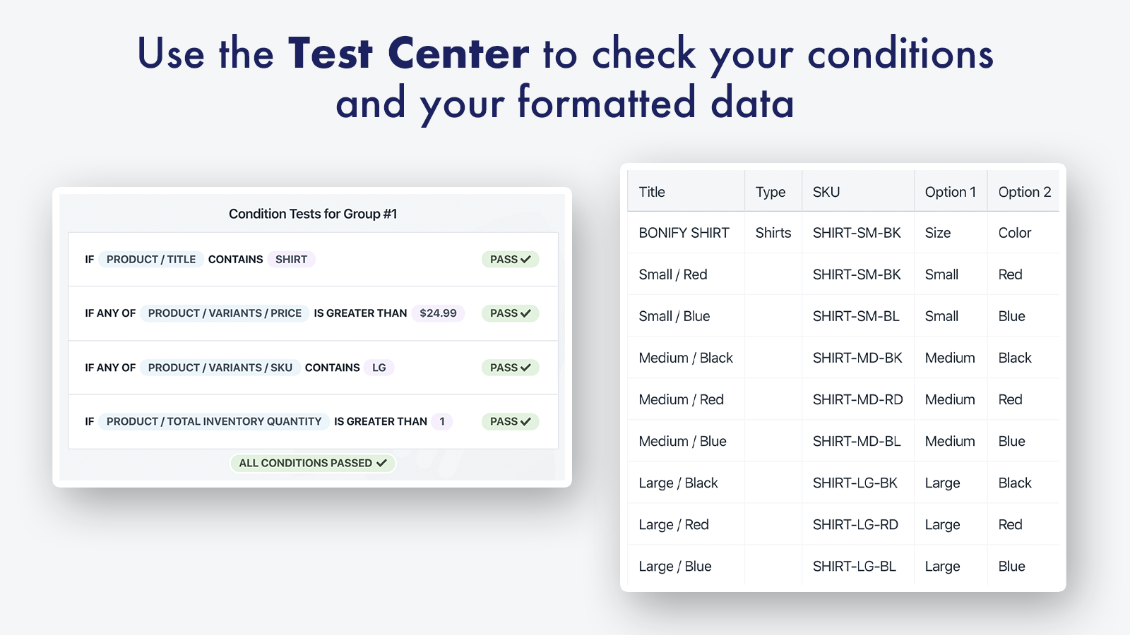 Use the Test Center to ensure accurate formatting