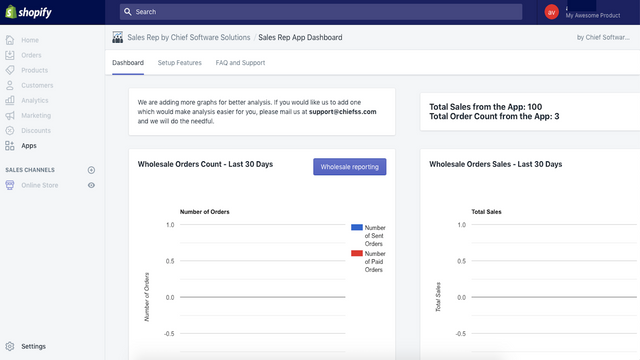 App dashboard in shopify admin, to view reports
