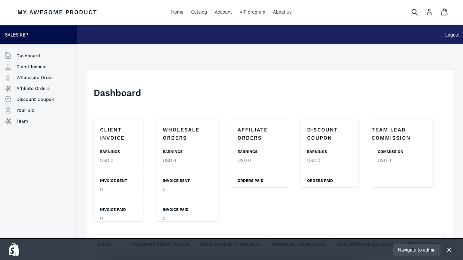 Sales rep back-office dashboard