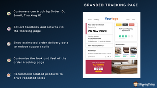 Branded order tracking page