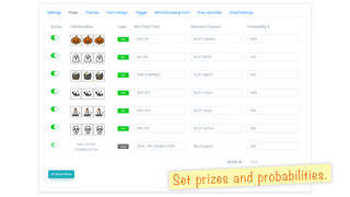 Set Prizes and probabilities