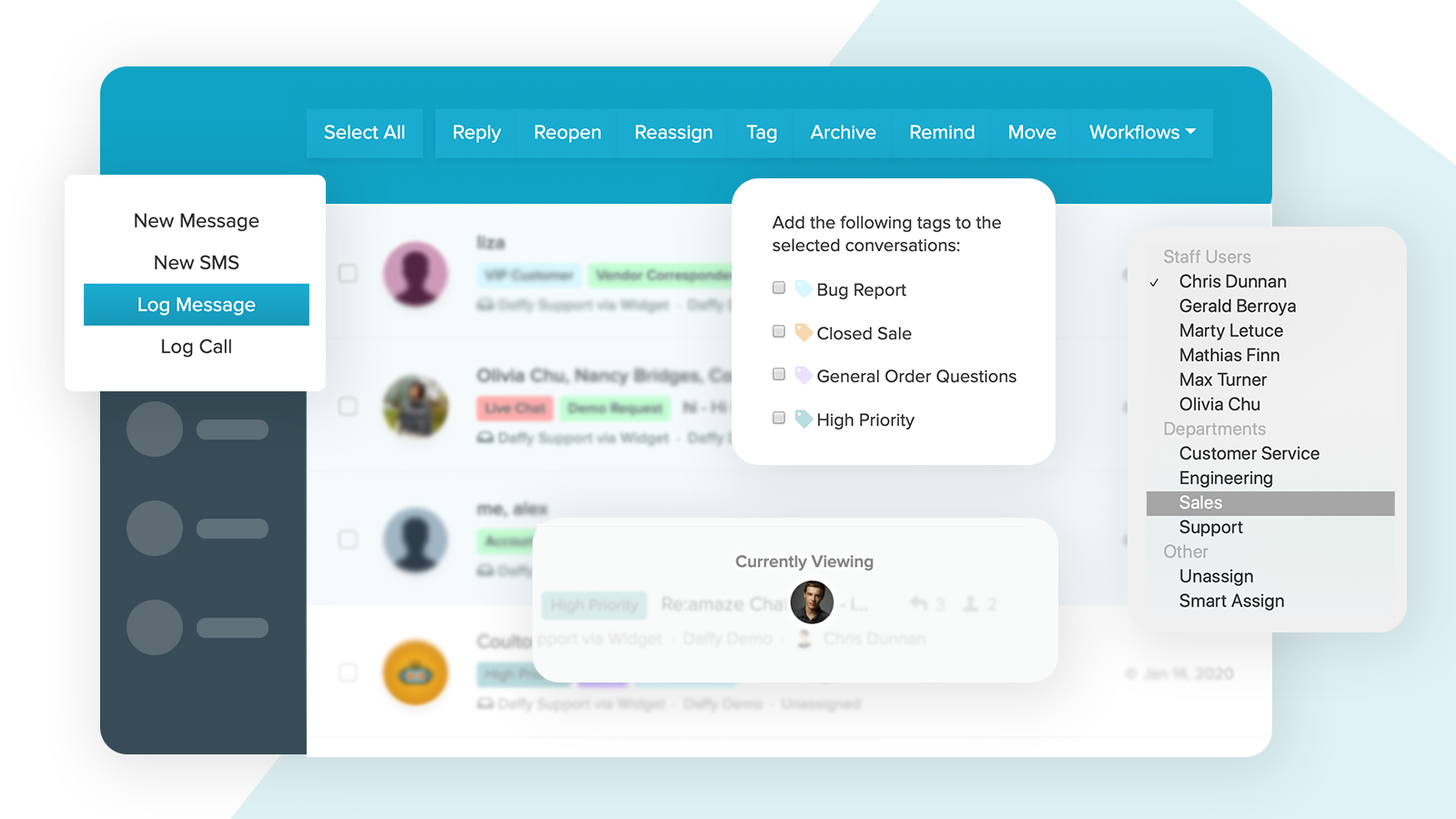 Multi-channel shared inbox designed for team collaboration.