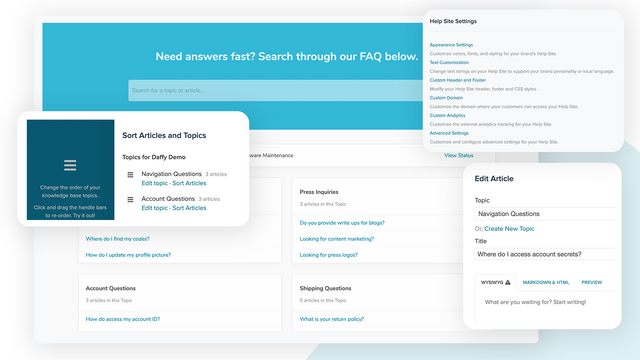 FAQ help center designed to educate your customers.