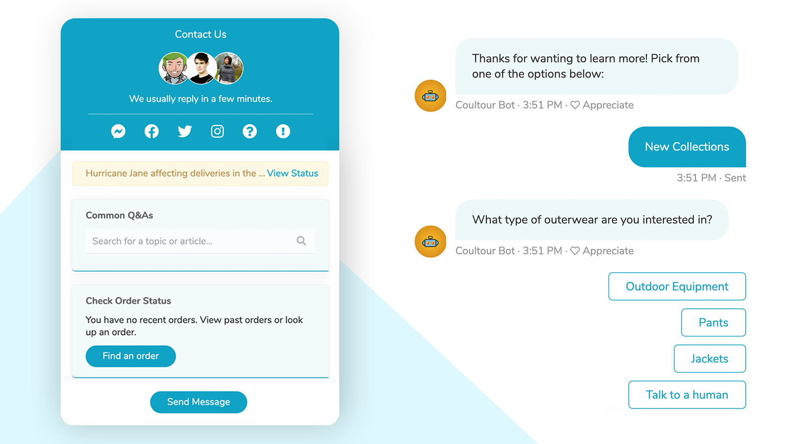 Powerful live chat and chatbots designed for eCommerce.